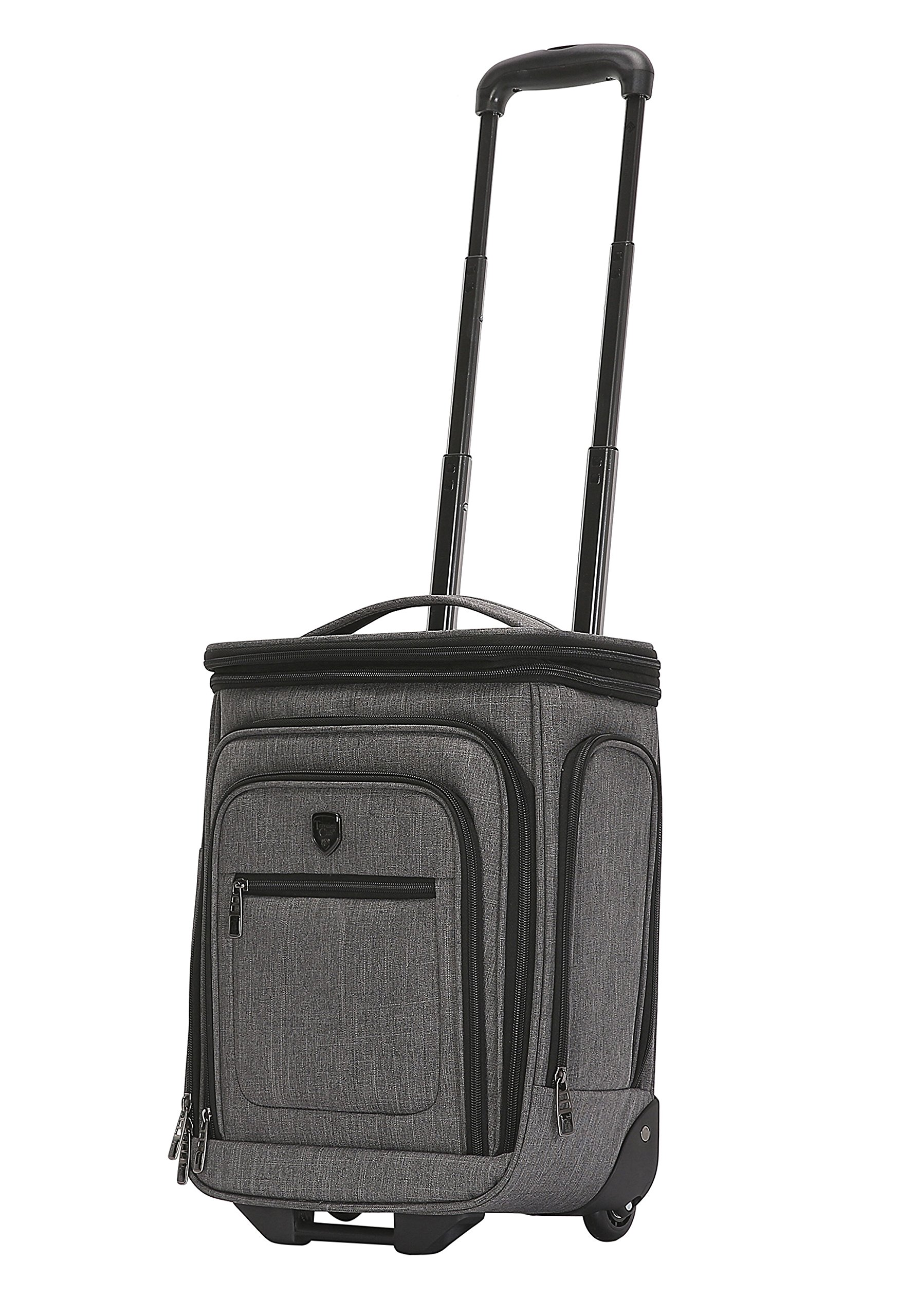 Travelers Club Luggage 17'' Top Expandable Underseater W/Side USB Port Connector, Dark Gray Suitcase, Carry by Travelers Club