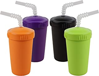 product image for Re-Play Made in USA 4pk Straw Cups with Bendable Straw in Orange, Black, Lime Green and Amethyst | Made from Eco Friendly Heavyweight Recycled Milk Jugs - Virtually Indestructible (Halloween+)