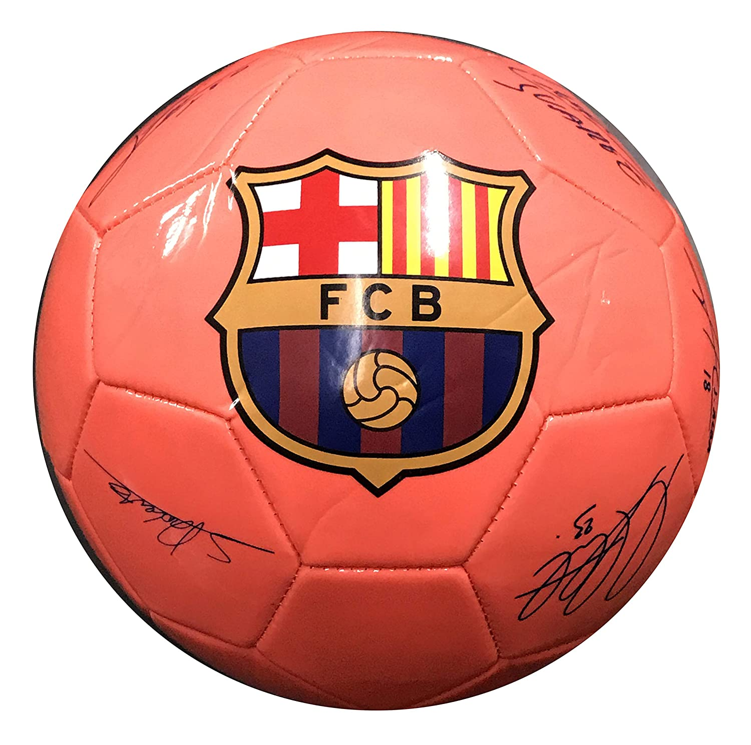 Icon Sports FC Barcelona Signatures Soccer Ball (Coral Orange, Size 5)