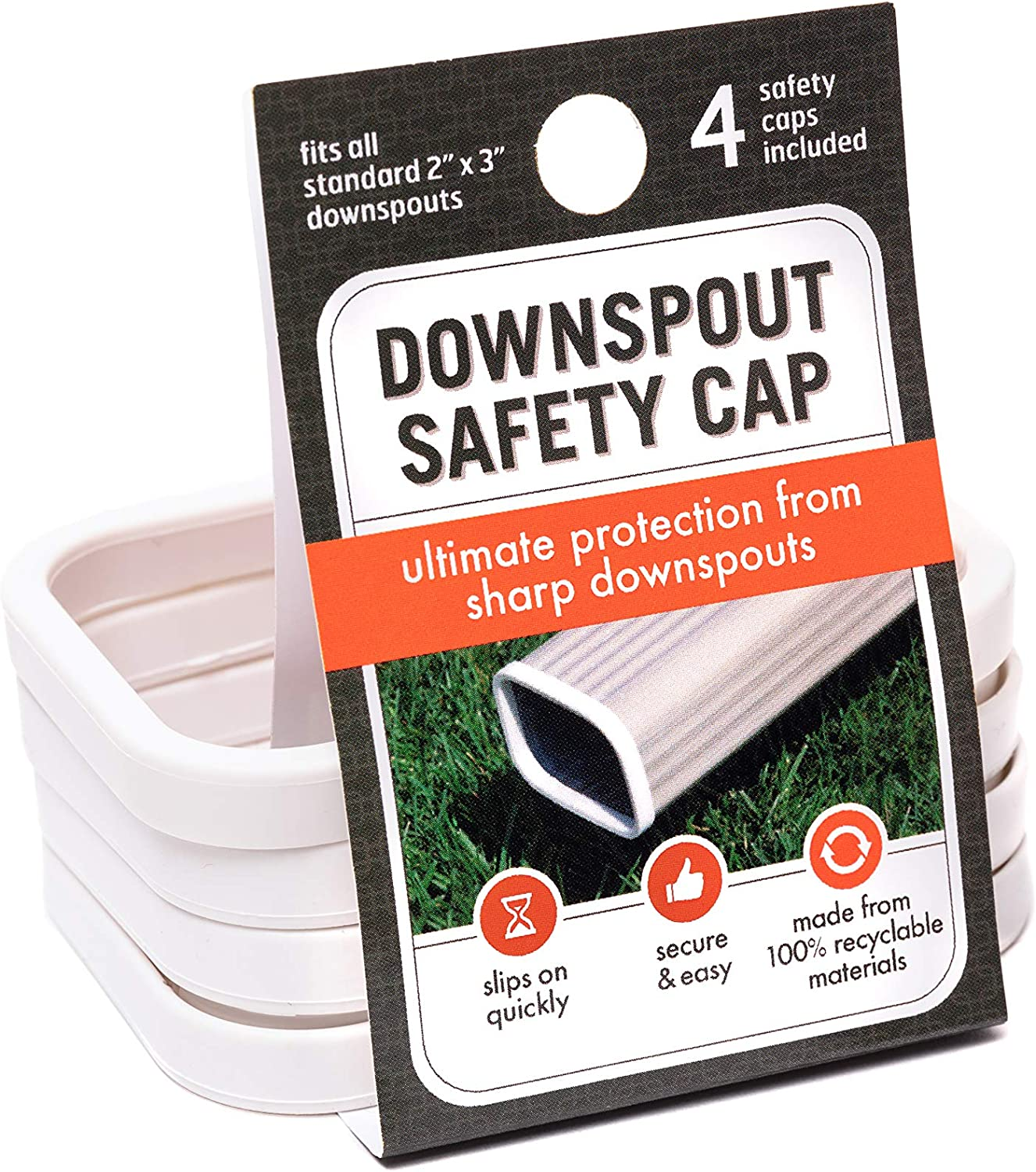"""Downspout Safety Cap   Gutter Downspout Protection for Adults, Kids and Pets   Protect from Gutter Downspout Extension Sharp Edges   2"""" x 3"""" Size Caps   4 Pack   White"""