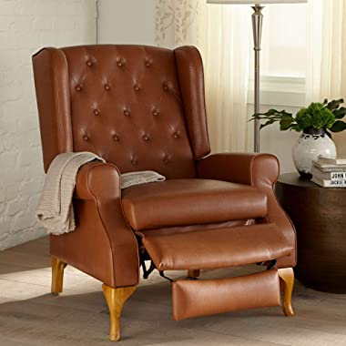 BrylaneHome Queen Anne Style Tufted Wingback Recliner - Camel