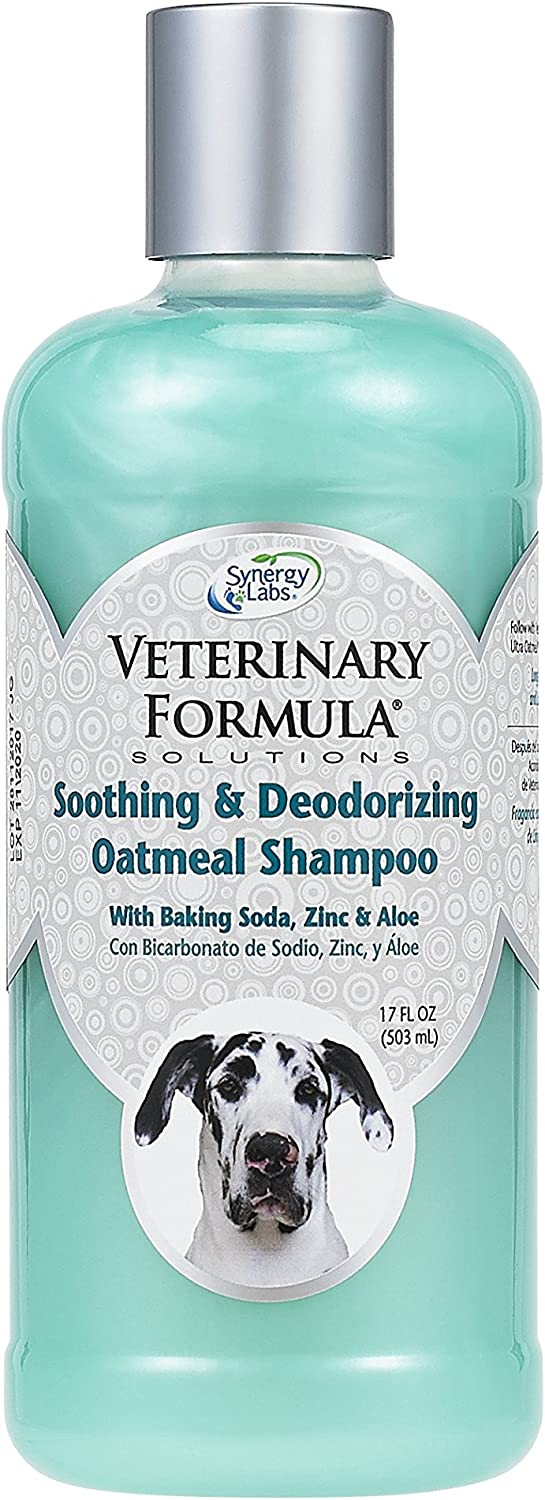 Veterinary Formula Solutions Soothing and Deodorizing Oatmeal Shampoo for Dogs –Baking Soda, Zinc and Aloe Eliminate Odors, Cleanse, Hydrate and Heal Skin – Long-Lasting Fragrance (17oz)