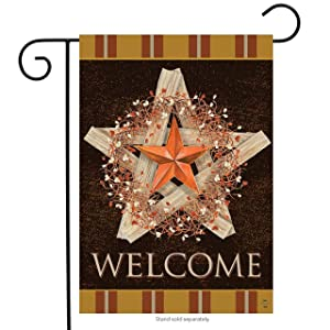 "Briarwood Lane Autumn Barnstar Welcome Garden Flag Primitive 12.5"" x 18"""