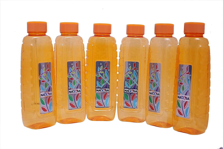 Nayasa Superplast Plastic Woody Pet Fridge Bottles 1 Litre, Set of 6, Orange