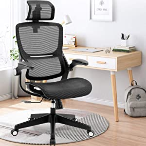 Ergonomic Office Chairs, Mesh Desk Chair with Adjustable Headrest and Seat Height, Flip-up Armrest Executive Chair, High Back Computer Chair, BIFMA Passed Task Chairs with 5-Year Warranty