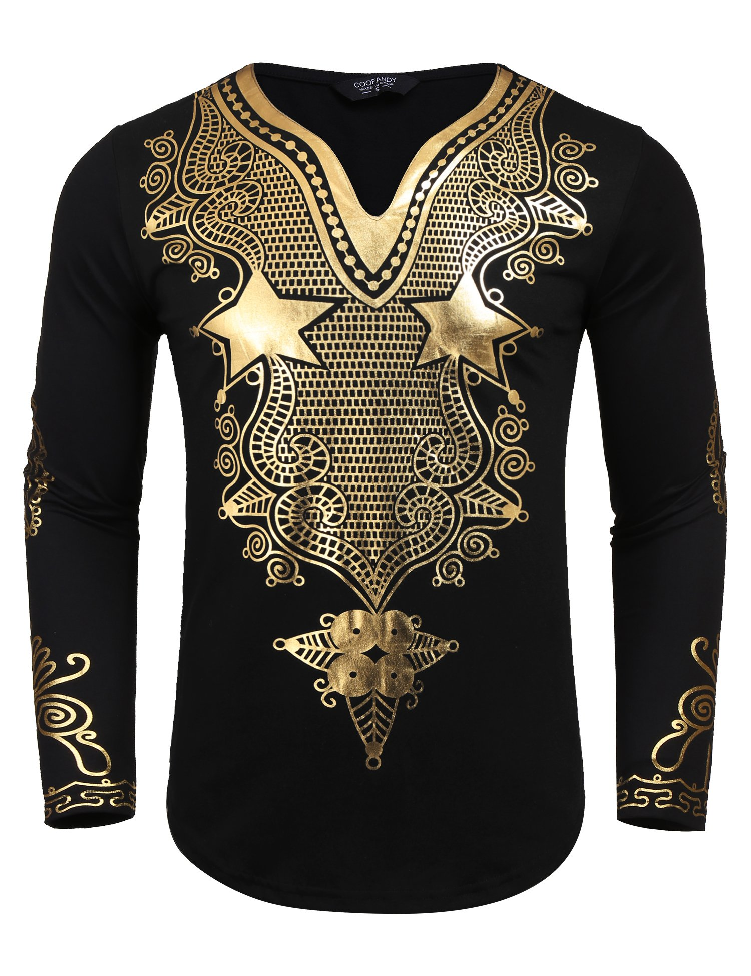 JINIDU Men's African Dashiki Shirt Metallic Floral Printed Tops Blouse