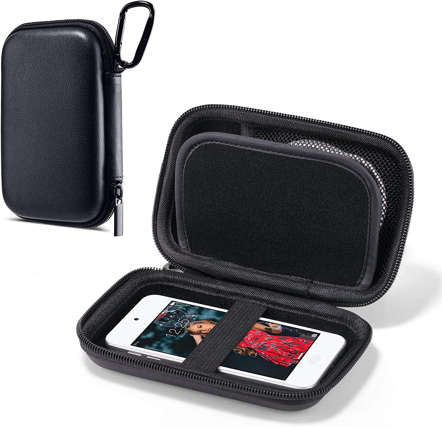 ULAK MP3 MP4 Player Case Bag Compatible with iPod Touch 7th/6th/5th Generation/Soulcker/Sandisk MP3 Player/G.G.Martinsen/Sony NW-A45 Fit for Earphones, USB Cable, Memory Cards, Black