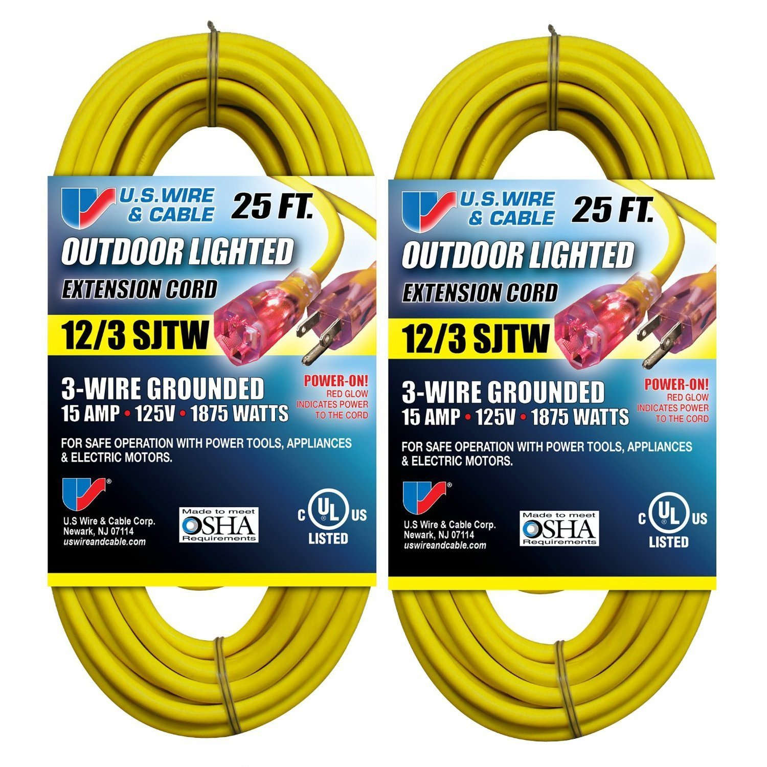 Us Wire 74025 12 3 25 Foot Sjtw Yellow Heavy Duty Lighted Plug Wiring A Extension Cord