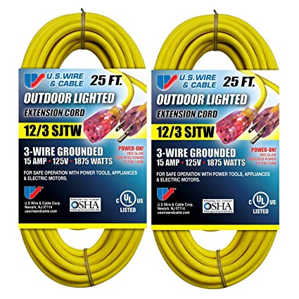 us wire 25 ft 12 3 sjtw heavy duty extension cord yellow lighted rh amazon com