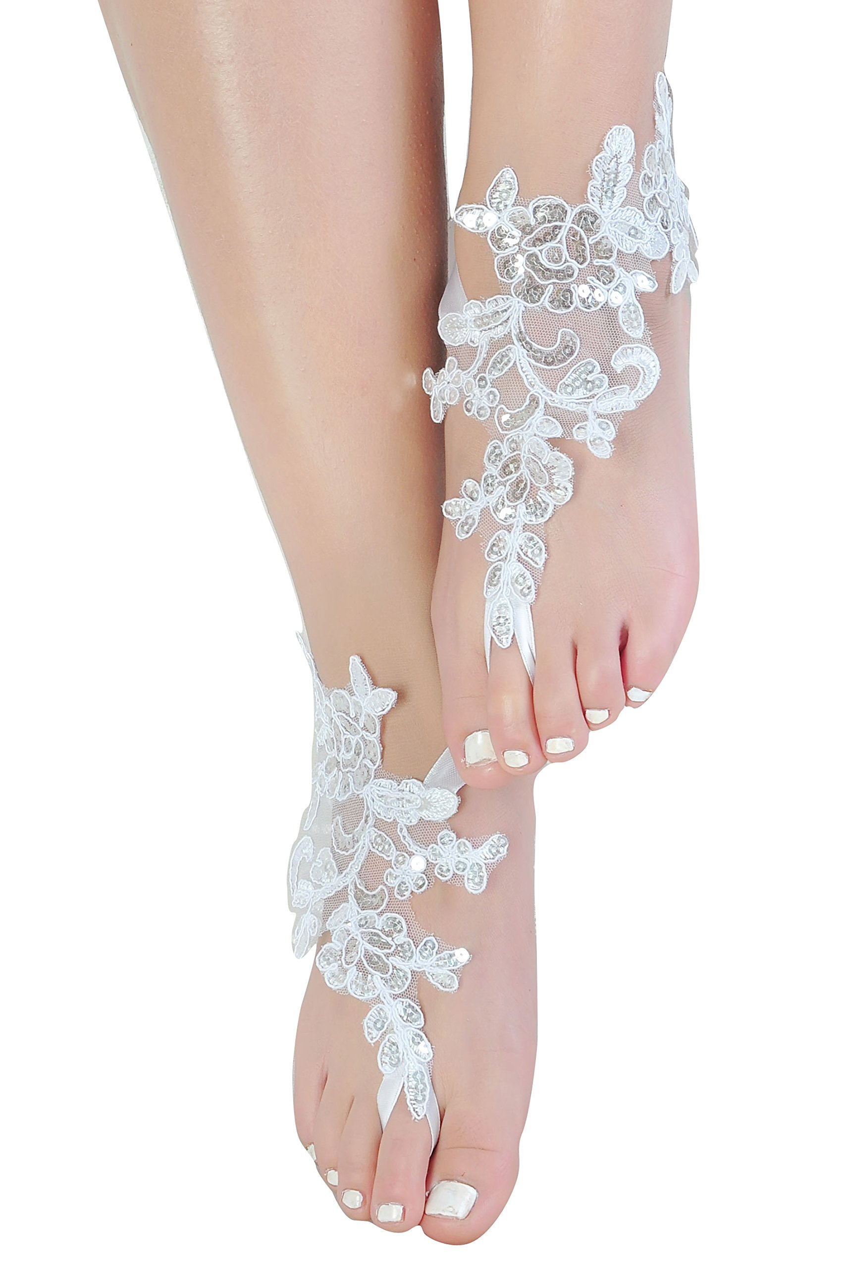 Destination Wedding Barefoot Sandals,Lace Anklets Wedding,Prom Party Bangle
