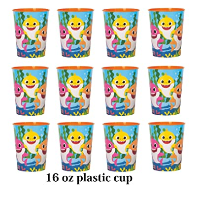 Four-seasonstore Lot of 12 Baby Shark 16oz Party Plastic Cup ~Party Favor Supplies~ Licensed Product: Toys & Games