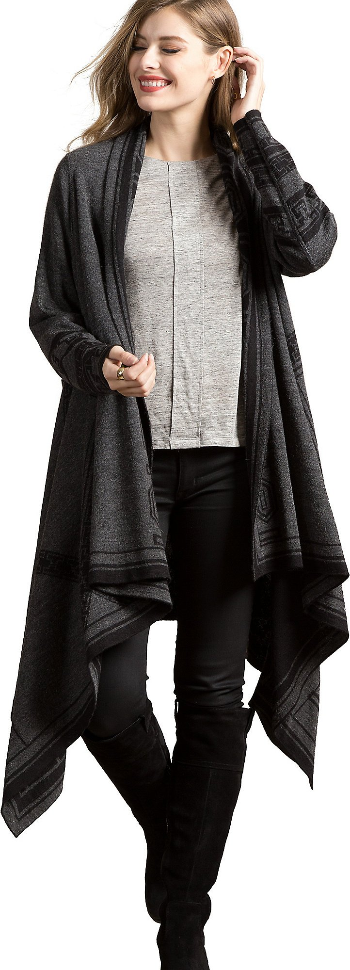 Overland Sheepskin Co. Serenity Reversible Peruvian Alpaca Wool Open Sweater Cape, Black/Gray, Size Large/XLarge (12-18) by Overland Sheepskin Co