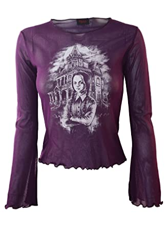 34a7239435bb Wednesday Adams Inspired Genuine Darkside Purple Fine Net Cropped Gothic  Mesh Top One Size UK 8 to 10  Amazon.co.uk  Clothing