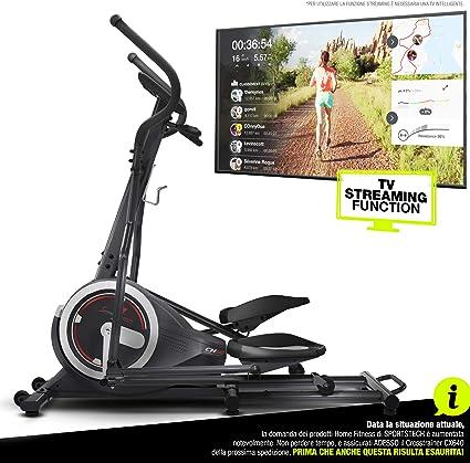 Máquina elíptica Sportstech CX640 compatible con l App para smartphone, Masa del volante 24 kg + Street View + 26 programas de entrenamiento incluida la función HRC, dispositivo para allenarsi a casa,