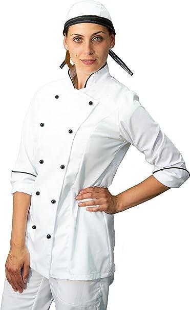 Bianca e Fuxia Made in Italy Casacca Chef Donna Giacca Cuoco da Cucina tessile astorino Ricamo Gratuito