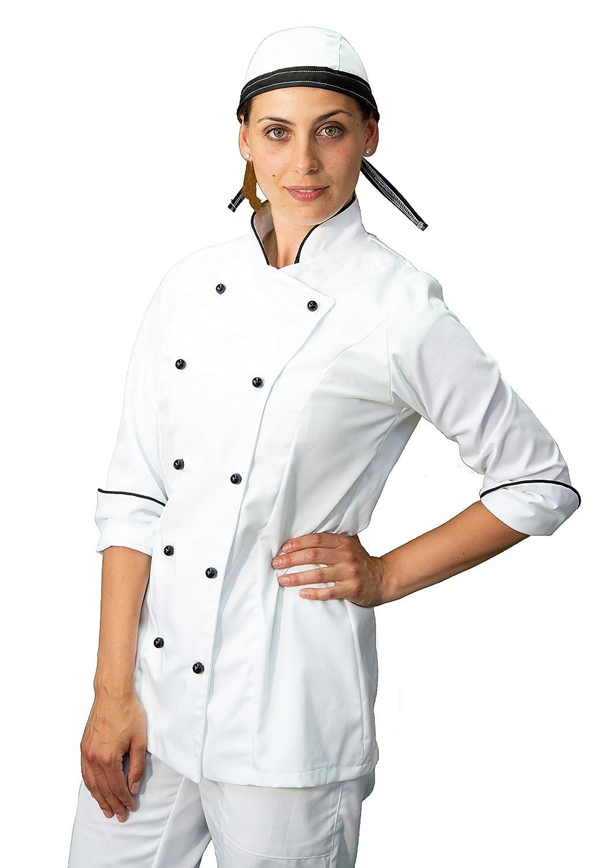 pantalone giacca e davantino divisa cuoco chef donna Made in Italy tessile astorino completo bianco e nero