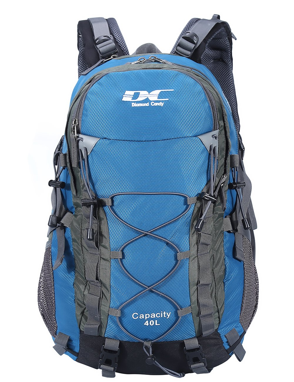 Diamond Candy Hiking Backpack 40L Waterproof Outdoor Lightweight Travel Backpacks for Men and Women with Rain Cover, Bag for Mountaineering Camping Climbing Cycling Fishing (Blue)