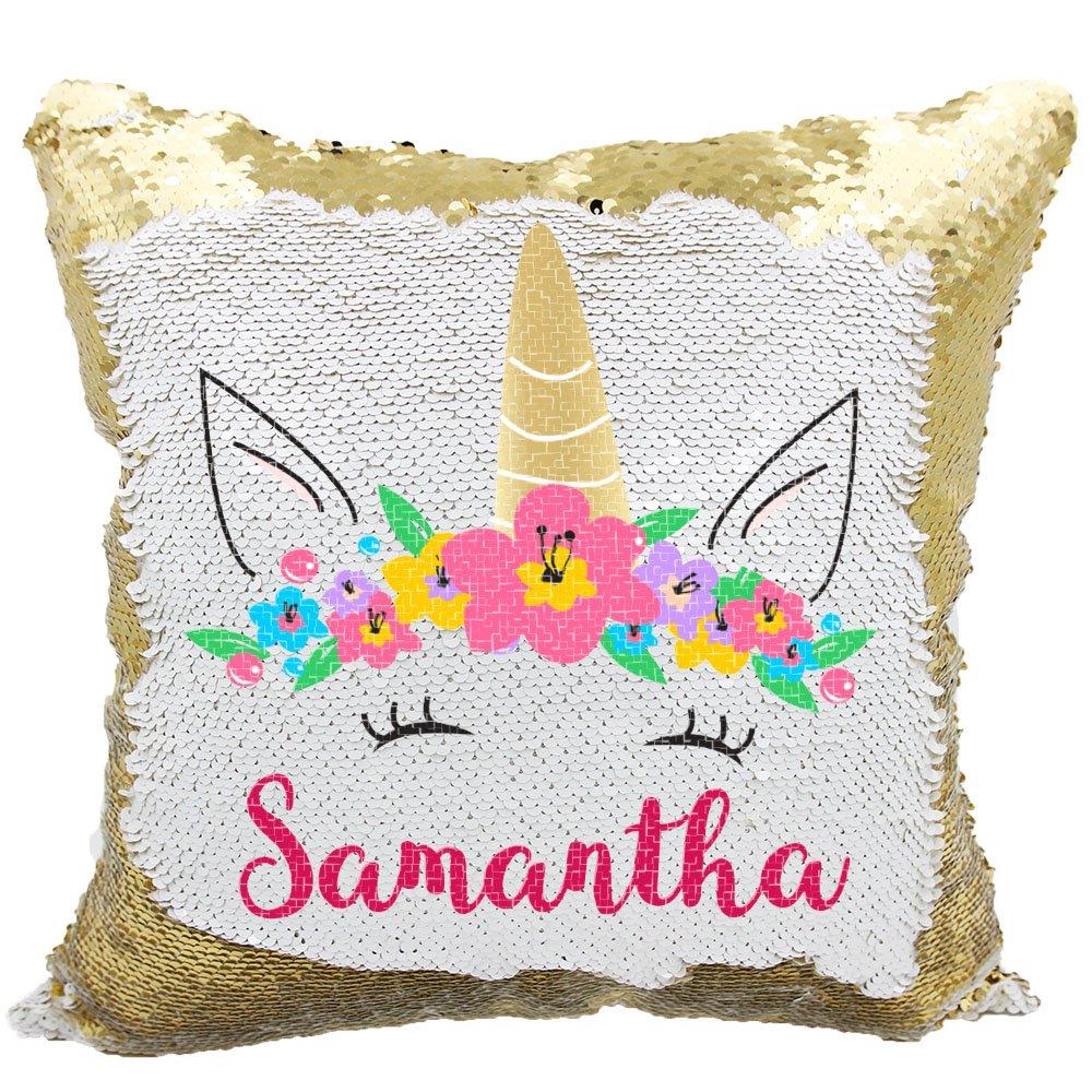 Personalized Mermaid Reversible Sequin Pillow, Custom Unicorn Sequin Pillow (White/Gold) by VeraFide