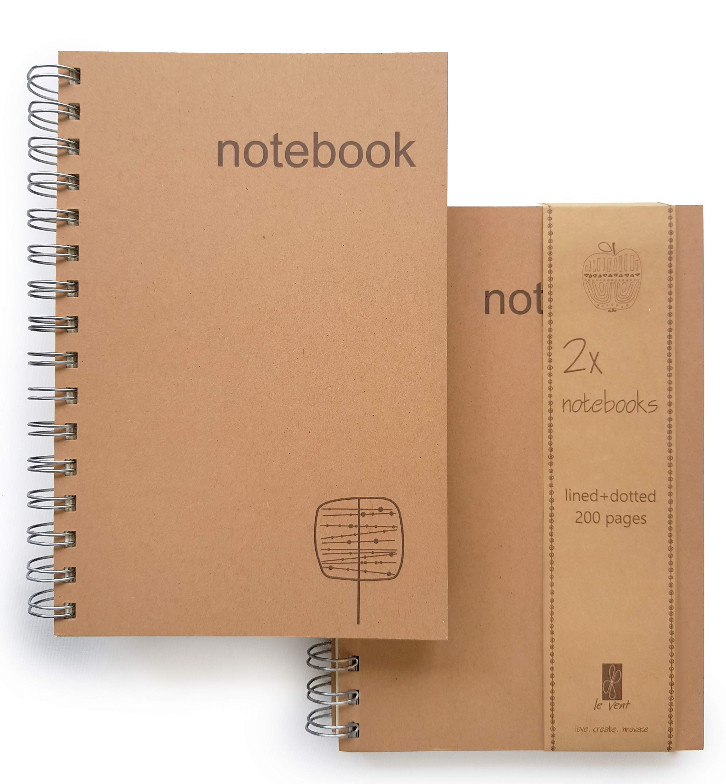 Le Vent Set of 2 Spiral Notebooks Lined and Dot Grid, 200 Pages Lay Flat, A5 8x5 Inches, Craft and Cream Thick Paper for Writing, Planning and Journal Refill by le vent
