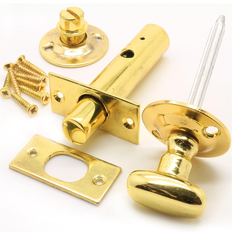 Brass 60mm Bathroom Door Privacy Lock White Hinge