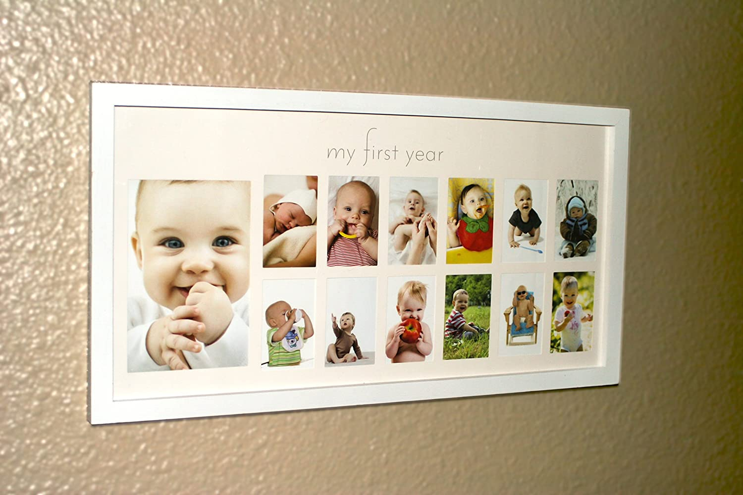 Amazon babys first year frame in elegant white natural wood amazon babys first year frame in elegant white natural wood my first year baby picture frame for photo memories baby jeuxipadfo Images