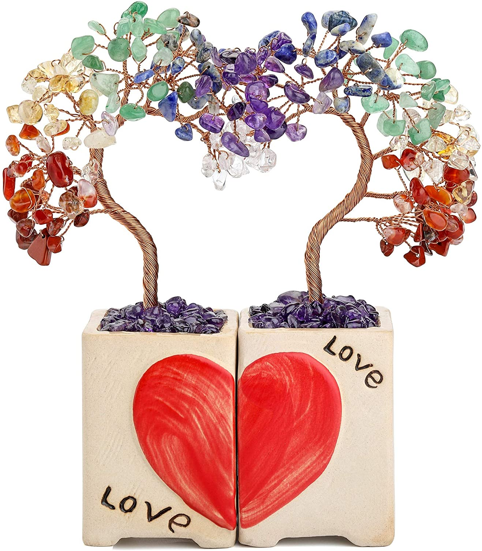 Top Plaza 2 Pcs 7 Chakra Healing Crystals Stones Tree Love Heart Wedding Ceremony Decor Reiki Gemstone Home House Living Room Decoration Gift for Couples Lover Girlfriend Boyfriend