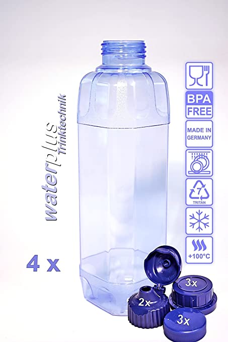 Waterplus TRITAN - Set de botellas (1 L (cuadrada), 3 tapas estándar