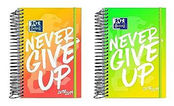 Oxford Never Give Up - Agenda escolar, día página con espiral y tapas extraduras con goma