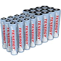 Tenergy High Drain AA and AAA Battery, 1.2V Rechargeable NiMH Batteries Combo, 12-Pack 2600mAh AA Cells and 12-Pack…