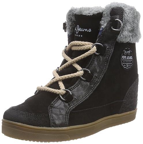 Pepe Jeans Brando Sneaker - Zapatillas Deportivas Altas de Cuero Mujer, Color Negro, Talla 37: Amazon.es: Zapatos y complementos