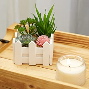 GrandAmore White Picket Fence Fake Succulent Plants Mini Centerpiece - 4 Artificial Plant Farmhouse Set - Aesthetic Indoor Cactus Kitchen Shelf or Office Desk or Kitchen Table or Bathroom Decor Women