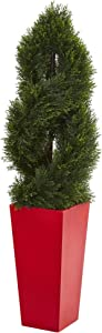 Nearly Natural 4.5' Double Pond Cypress Spiral Tree in Red Planter UV Resistant (Indoor/Outdoor) Artificial Plant, Green