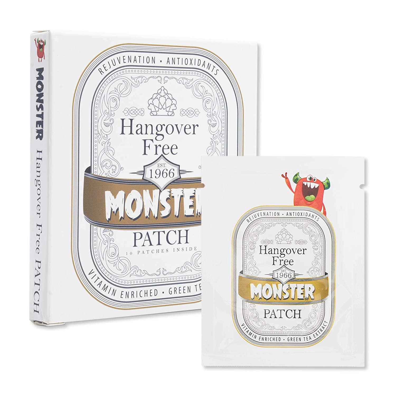Hangover Patch (10 per Box). Vitamin enriched to aid in Alcohol Recovery for The Morning After. Monster Hangover Defense.