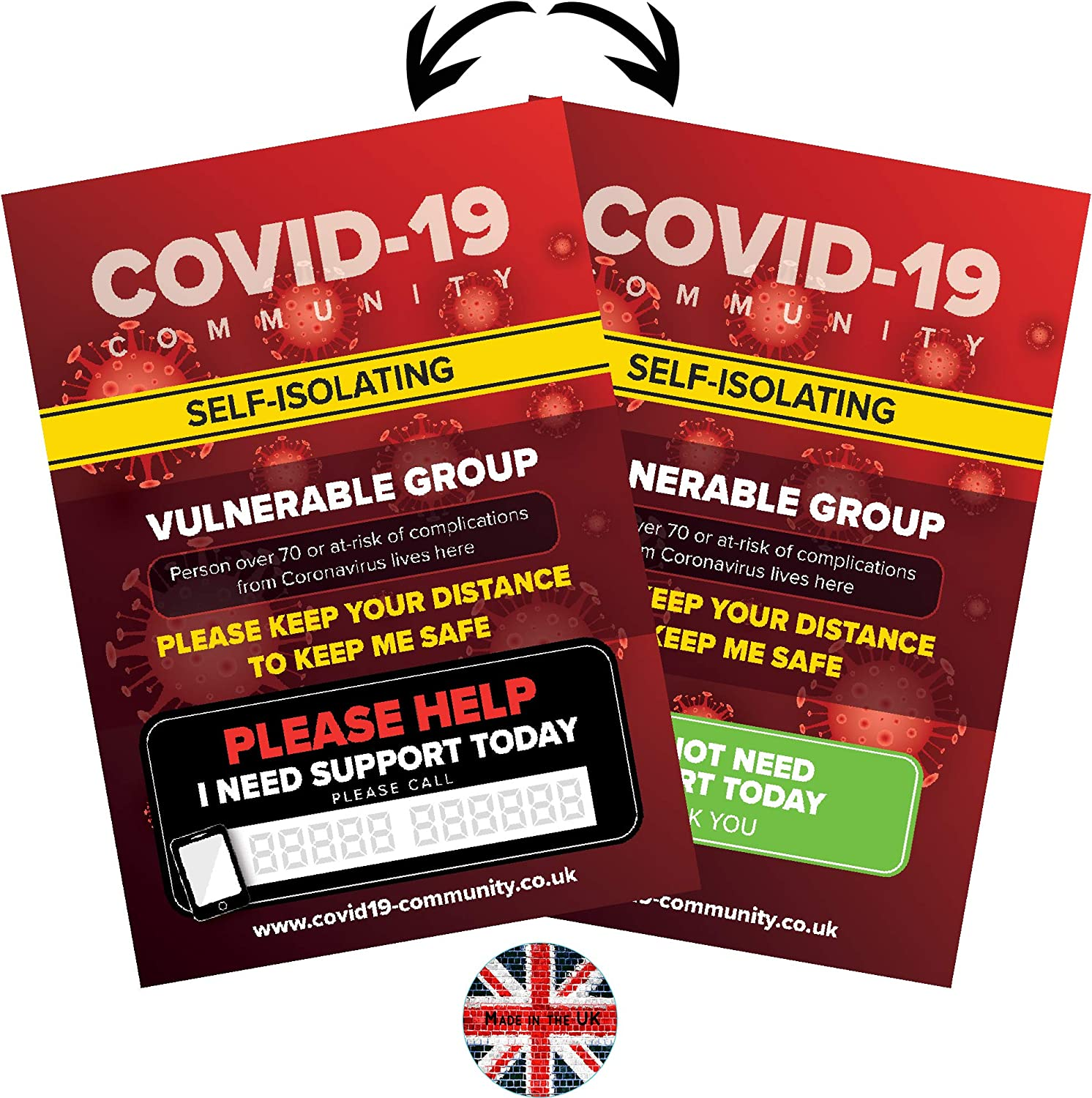 A4 Safety Poster Kit With Glue Dots Anti Contact Double sided Covid 19 Virus Protection Sign Elderly Or Vulnerable Coronavirus Poster Safety Sign Pack Corona Virus Home Sign for At Risk