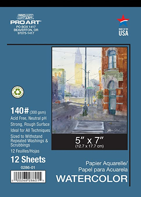 Pro Art 12-Inch by 16-Inch Watercolor Paper Spiral Pad 140-Pound