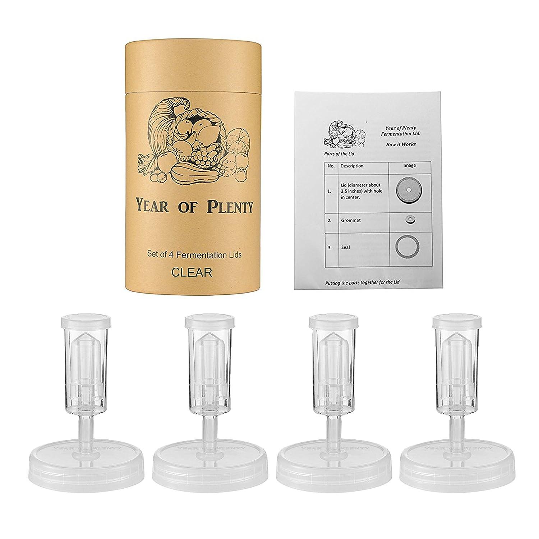 Transparent Couvercles de Fermentation Sans BPA de Year of Plenty pour Pr/éparer de la Choucroute dans des Bocaux Mason Jar Inclus les Instructions Ensemble de 4 Recettes et Bo/îte-cadeau...