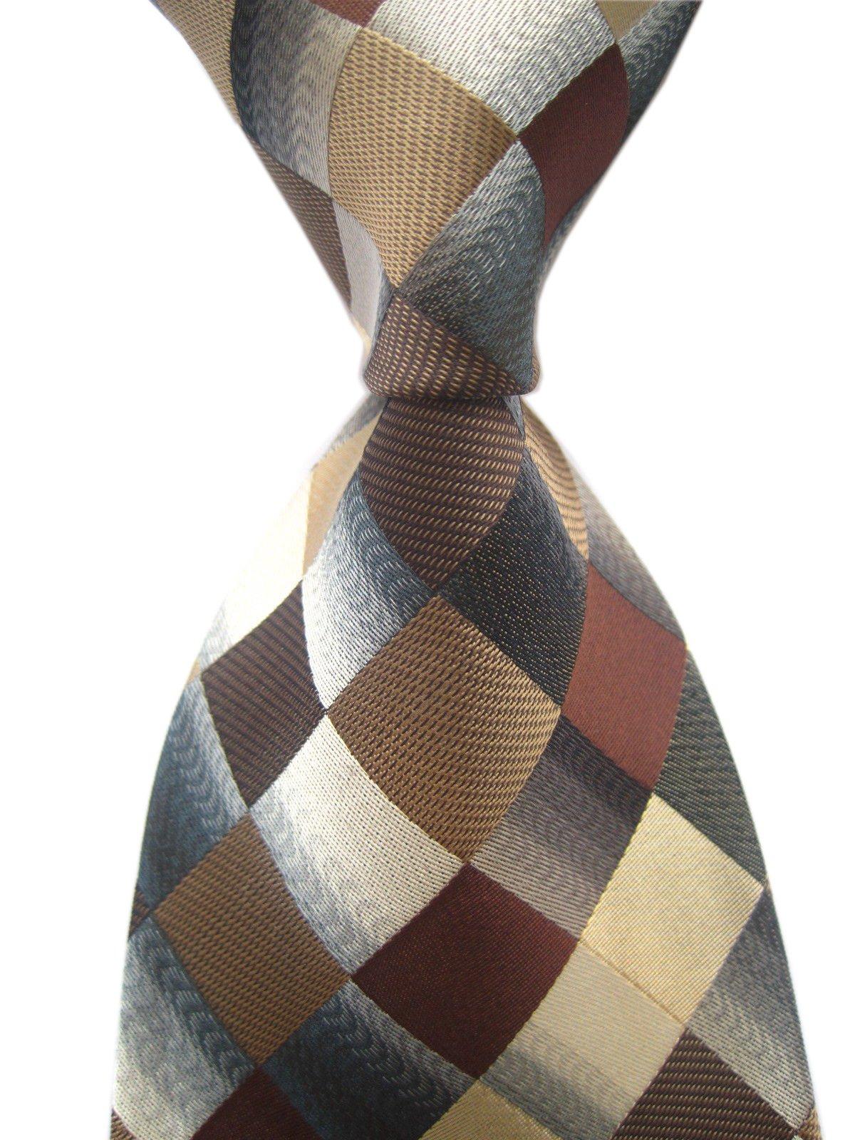 Elfeves Men's Classic Designer Plaid Ties Checks Patchwork Necktie Brown Grey