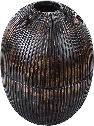 VILLACERA Wood Vase, Black