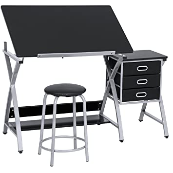 best choice products office drawing desk station adjustable drafting table set w stool chair