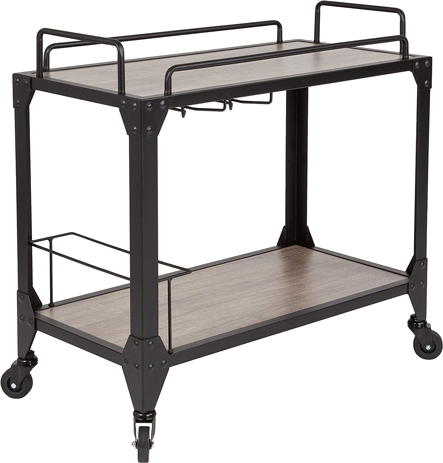 Taylor Logan Kitchen Serving and Bar Cart with Wine Glass Holders, Light Oak Wood and Iron