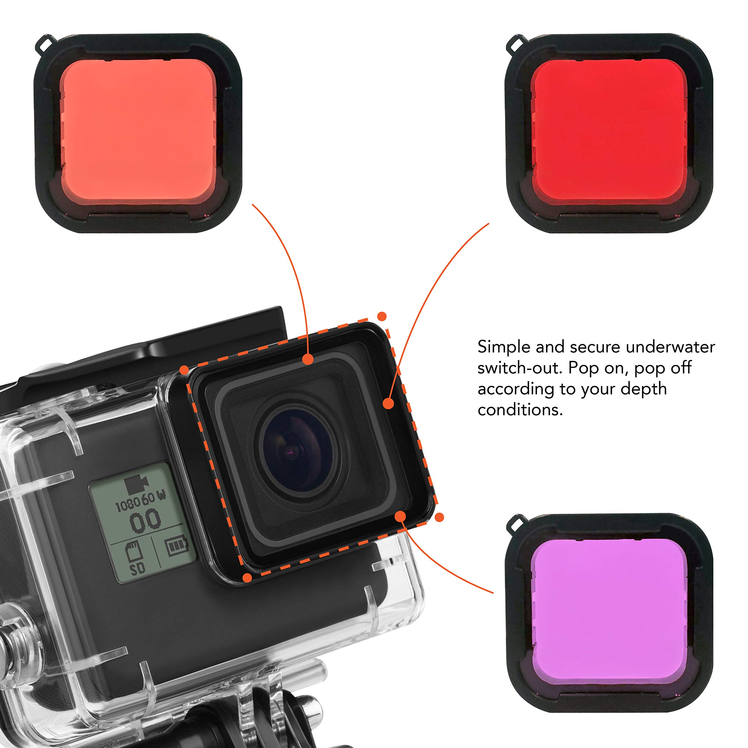 Kula Co. 3 Pack Scuba Dive Filter for GoPro Hero 7 Black/GoPro Hero 6/Hero 5 Super Suit Dive Housing - Red, Light Red, Magenta Filter - Enhances Colors for Underwater Video and Photographs by Kula Co.