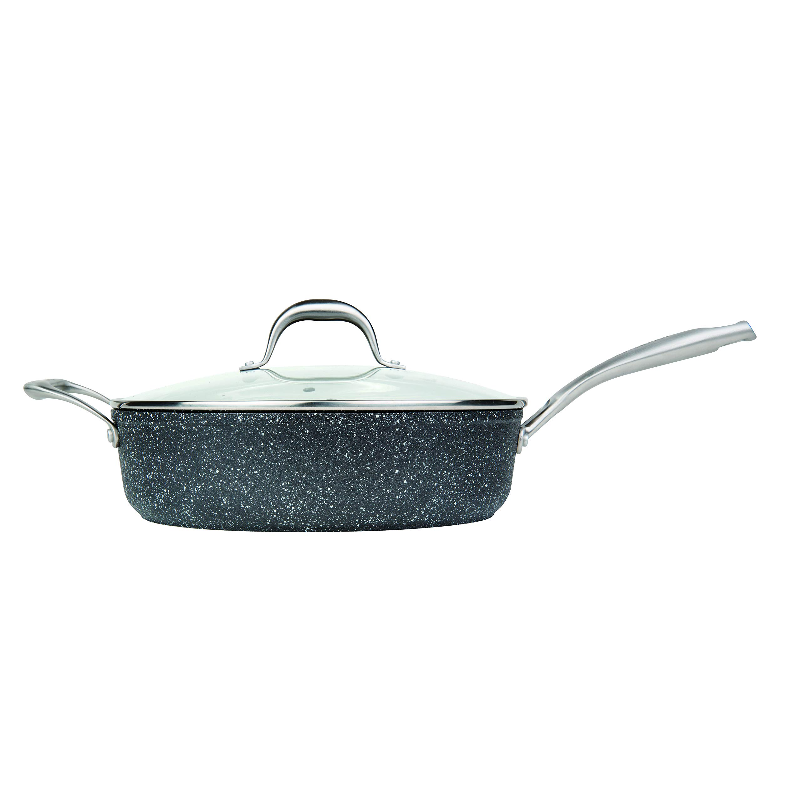 MasterPan Granite Ultra Non-Stick Cast Aluminum Sauté Pan with Glass Lid, Non-stick Frying Pan Omelette Pan, 11'', Grey, MP-134 by Master Pan (Image #4)