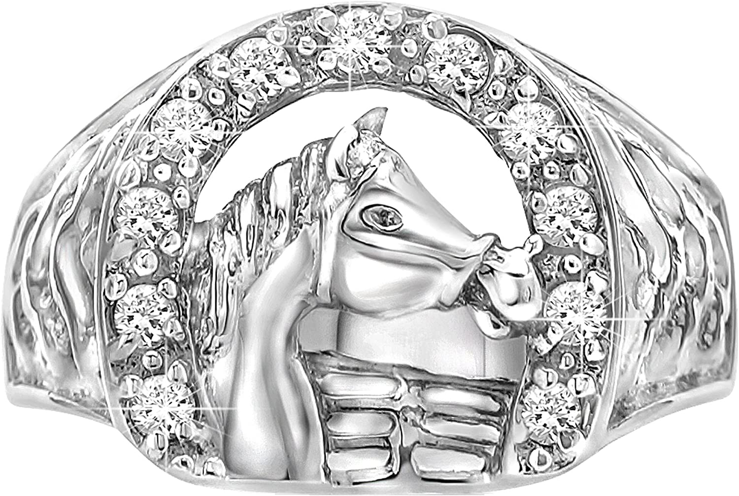 Sterling Manufacturers [2-5 Days Delivery] Sterling Silver .925 Horse Ring Featuring a Cubic Zirconia (CZ) Encrusted Horseshoe Hand Polished. Cowgirl Cowboy Western Ring.