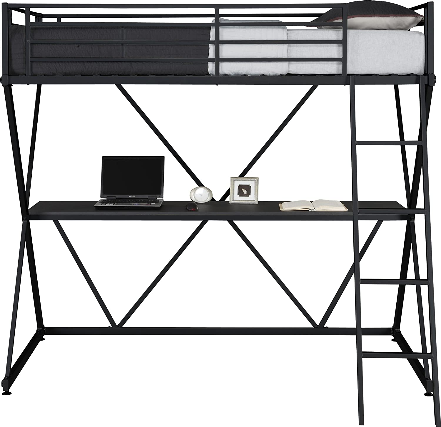Amazon com  DHP X Loft Metal Bunk Bed Frame with Desk   Space Saving Design    Twin  Black  Kitchen   Dining. Amazon com  DHP X Loft Metal Bunk Bed Frame with Desk   Space
