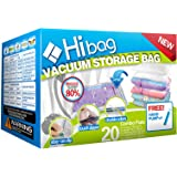 Hibag Space Saver Bags, 20 Pack Vacuum Storage Bags (6 Medium, 5 Large, 5 Jumbo, 2 Small, 2 Roll Up Bags) with Hand Pump for