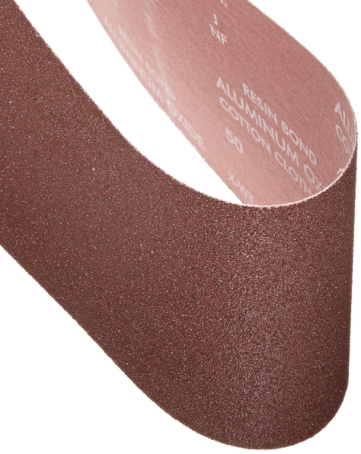 Norton 78072727985 BenchStand Abrasive Belt, Cotton Fiber Backing, Aluminum Oxide, 48'' Length x 6'' Width, Grit 50X Coarse (Pack of 10)