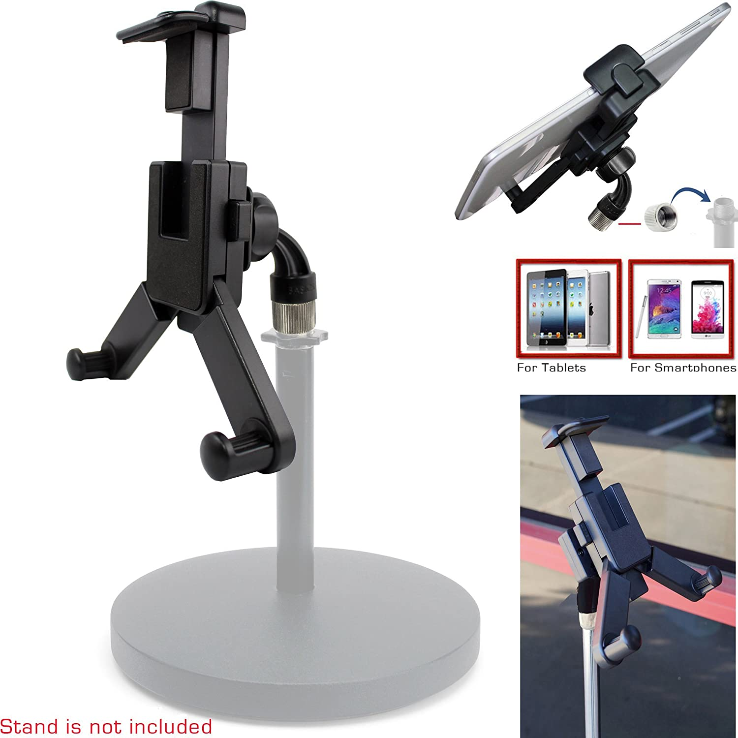 ChargerCity 360° swivel Smartphone Tablet Mount Holder w/ 5/8' Tripod Mic Microphone Stand Adapter mount for Apple iPad Pro Air Mini iPhone 6s Plus 6 SE Samsung Galaxy S6 S7 Edge Note SW-MIC1+SW16+HLD25