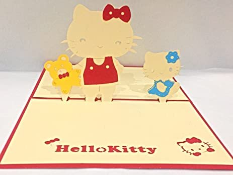 Sprinkles Gifts Laser Cut 3D Hello Cat Cats Kitty Kitties Birthday Greeting Cards Pop Up Card