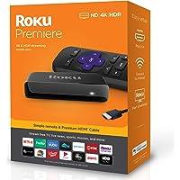 Roku Streaming Media Player Simple Remote and Premium HDMI Cable, Black (Roku Premiere)