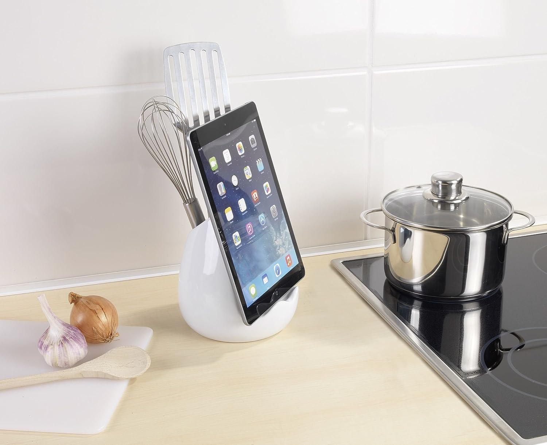 Wenko Organizador con Soporte para Tablet Cer/ámica Blanco 14.5x15x16.5 cm
